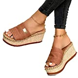 LKSDJ Comodi Sandali con Zeppa con Plateau da Donna Slip On Casual Summer Beach Slipper Shoes, Women Sandals Shoes Women Platform And Wedge Sandals. Orange 39