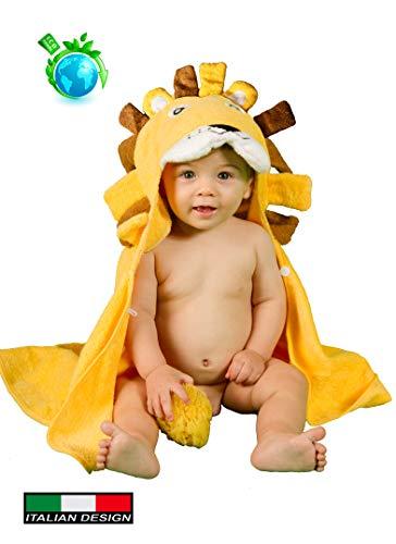 ALENYK Asciugamano Accappatoio Leoncino EXTRA SOFFICE Per Bambini da bagno 100% Cotone Naturale MASSIMA IGIENE Perfetto per Doccia, Bagnetto dei Bimbi Piccoli e Neonati AMPIE DIMENSIONI 3Mesi-2Anni