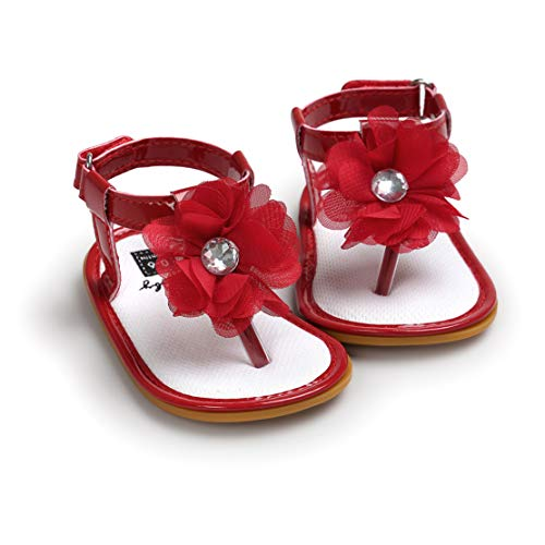 Bebé Niña Sandalias, Recién Nacido Verano 3D Floral Correa en T Moda Niño Primeros Caminantes Zapatos para Niños Antideslizante Suela Blanda Zapatos 6-18 Meses