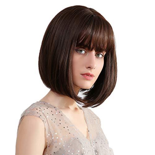 yotijar Cabelo Liso Natural Feminino 12 '' Bob Wig Brasileiro Wig Wig para