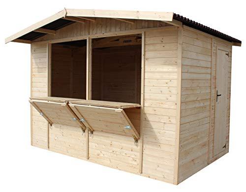 TIMBELA Verkaufskiosk aus Holz - Kiefern- / Fichte Verkaufsstand - H232x336x263 cm / 6 m2 - Plattenkonstruktion - M150