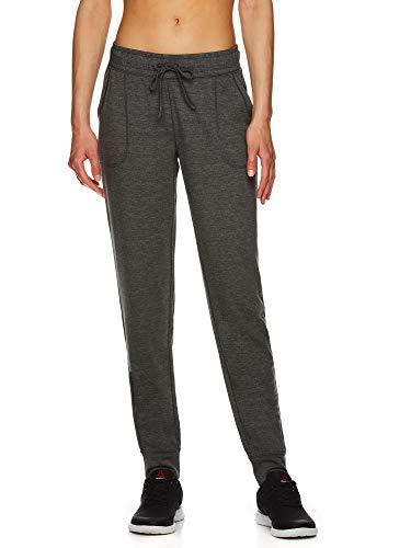 Reebok Women's Super Soft Jogger Pants - Mid Rise Waist Athleisure Sweatpants for Women - Super Soft Charcoal Heather, Medium
