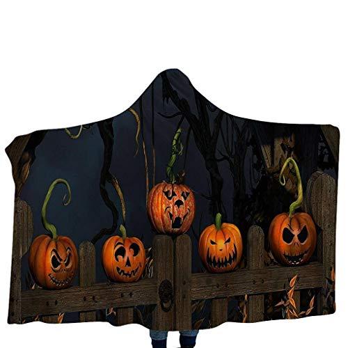 Lomelomme Halloween Kürbis Kostüm Schal Kappen Unisex Kinderdecke mit Kapuze Schal Kürbis Muster Kapuzenschal Home Decke Badetuch