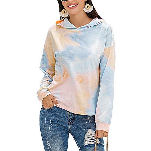 ZFQQ 2020 Neuer Damenhemd-Batikpullover mit Farbverlauf und Farbverlauf
