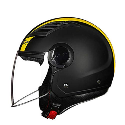 Berrd Motorrad Retro Helm Open Face Sommer Helm Roller Half Face Motorrad Helm Erwachsener Helm gelbe Linien xxxxl