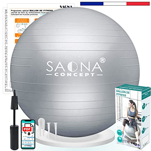 Ballon Fitness 55, 65 ou 75 cm avec Pompe | Ballon Gym, Pilates, Grossesse, Yoga, Kinésithérapie | Gym Ball ou Swiss Ball idéal pour Assise Bureau | Jusqu'à 300kg (65 cm)