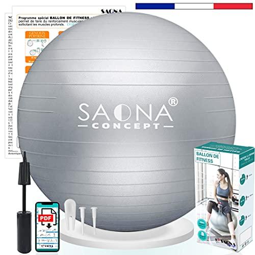 Ballon Fitness 55, 65 ou 75 cm avec Pompe   Ballon Gym, Pilates, Grossesse, Yoga, Kinésithérapie  ...
