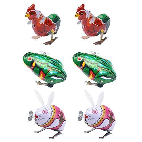 Tomaibaby 6 Stücke Kinder Aufziehspielzeug Tiere Frosch Hahn Kaninchen Figur Blechspielzeug Aufziehtiere Eisen Aufziehfigur Wind Up Uhrwerk Spielzeug für Baby Ostern Geburtstag Geschenke