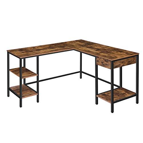 HOOBRO Großer Schreibtisch, Computertisch in L-Form, Eckschreibtisch mit Schublade, Bürotisch Regalen links und rechts, kann 2 Computer aufnehmen, robust und stabil, Dunkelbraun EBF138DN01