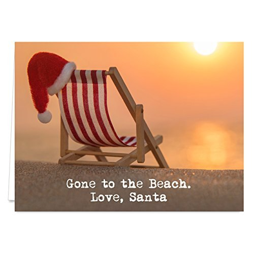 Santa at the Beach Holiday Card Pack - Set of 25 cards - 1 design, versed inside with envelopes