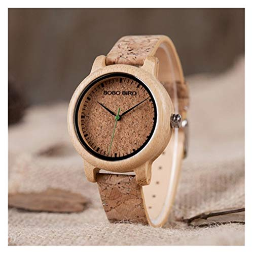 GKXAZ Handgemachte Cork Strap Bambus Frauen-Uhr-Luxus in Box Accept Logo Tropfen Shippi (Color : Womens)