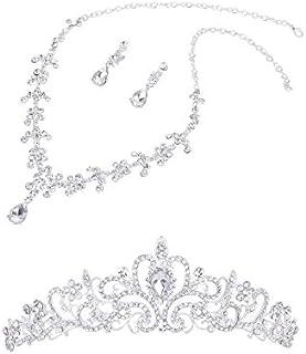 Gleader Corona Nuziale di Cristallo diadema + Collana Orecchini da Sposa Damigella d'Onore