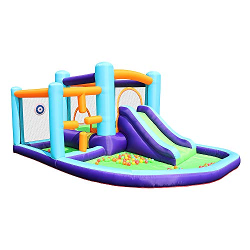 AirMyFun Bounce House Inflatable Bouncer HouseJumping Castle with SlideBackyard Bouncing SlideParty Bouncer House with Long Slide with Air Blower