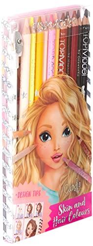 Depesche 5678 TOPModel - Buntstifte-Set, 12 Stifte in Haut- und Haartönen, inklusive Spitzer und Mal-Anleitung, zum Ausmalen von Gesichtern und Haaren