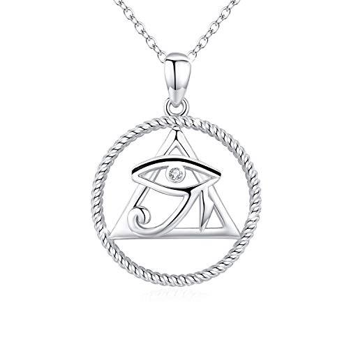 Collier Oeil dHorus en argent sterling 925 avec pendentif en