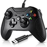 Wired Controller Compatible with Xbox One,Dual Vibration PC Game Joystick with Headphone Jack Gamepad Compatible with Xbox Series X/Xbox One/One S/One X/ Windows 10 - Black