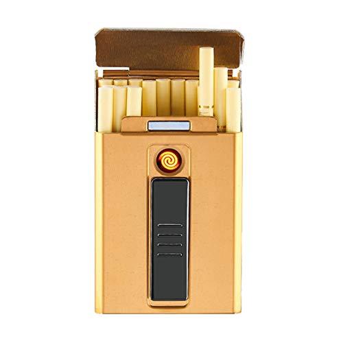 Portasigarette portatile USB con le sigarette più leggere di sicurezza for uomo donna 20pcs Slim sigarette Accendini 2 in 1 ricaricabile senza fiamma antivento elettrico Accendino ( Color : Gold )