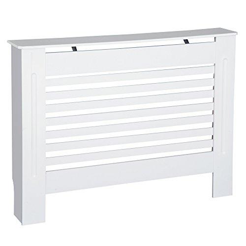 HOMCOM MDF Radiator Cover Wooden Cabinet Shelving Home Office Vertical Slattted Vent White 112L x 19W x 81H