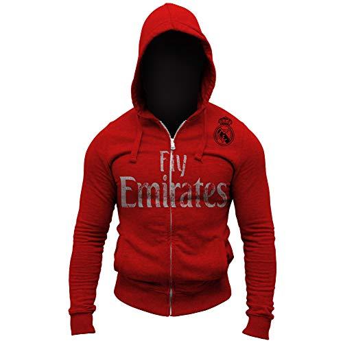 Real Madrid Fly Emirates Shoulder Logo Soccer Full Zip-Up Hoodie Jumper (S, Red)