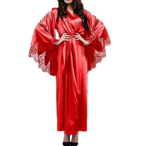 Dasongff dames lange kimono nachtjas zijderobe ochtendjas kanten badjas nachtkleding sleepwear V-hals met riem Medium rood