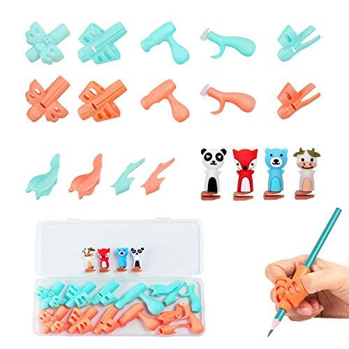 LATTCURE Bleistiftgriffe, Silikongriffkorrekturstift Ergonomische Schreibhilfe Haltungskorrektur Stifthalter für Kinder Korrekturwerkzeug Verfügbar für linke und rechte Hand, 18 pcs (Orange und blau)