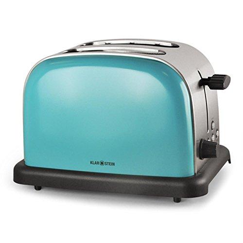 Klarstein BT-318 Toaster - 2-Scheiben-Toaster, Doppelschlitz-Toaster, für 2 Scheiben, Edelstahl, Auftau-Funktion, 6-stufige Bräunungsgradeinstellung, 2 Krümelschubladen, 1000W, türkis