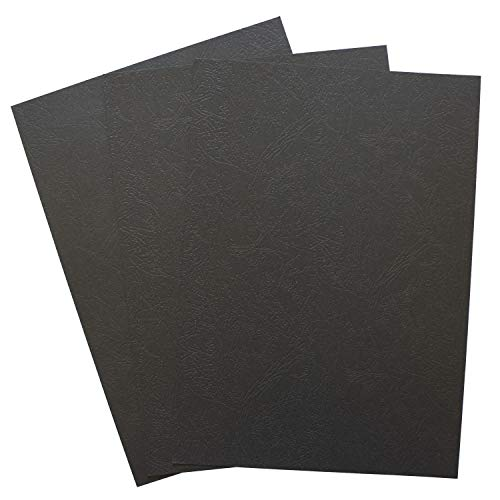 Binditek 100 Pack Paper Leather Texture Binding Presentation Covers for Business Documents, School Projects, Un-Punched 8-1/2 x 11 Inches 12Mil,Black Color (Pack of 100)