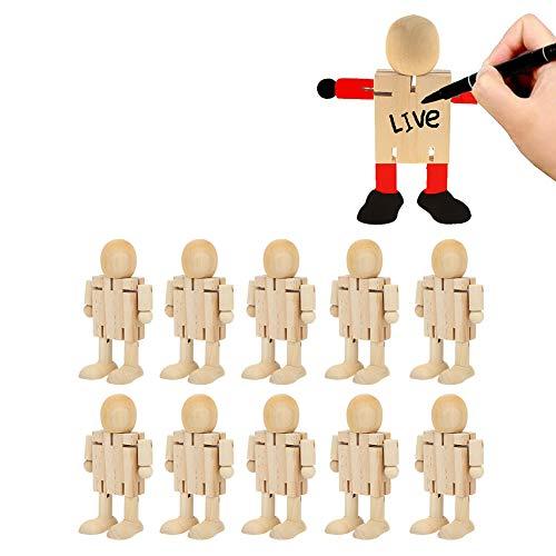 Atyhao 10 Piezas Figura de Robot de Madera inacabada Figuras de Personas Figuras Escultura Flexible para Bricolaje Pintura Artes Manualidades decoración del hogar