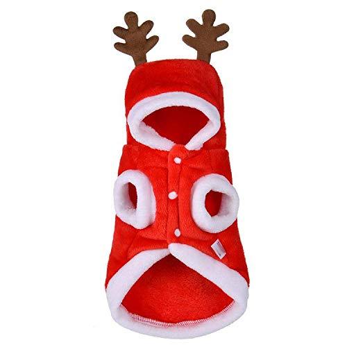 Tonsee Winter Herbst Hundebekleidung Weihnachten Hunde Super weich Fleece Kostüm Kleidung Hunde Pullover Mit Kapuze in Deer (XS, Rot)
