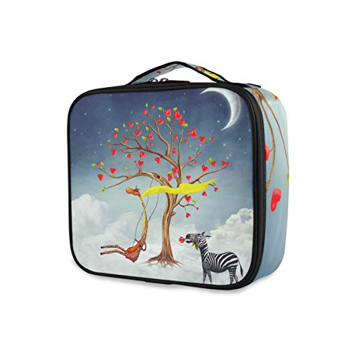 Mnsruu Cœur Love Girafe Zèbre Lune Cosmétique Organisateur Portable Sac de Rangement Voyage Maquillage Train Case avec Séparateurs Réglables