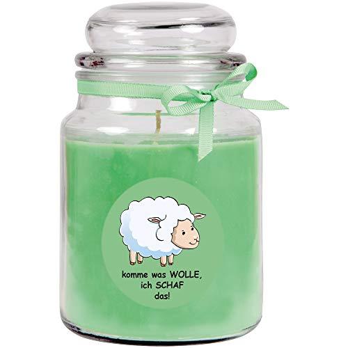 HS Candle Duftkerze im Bonbonglas Comic, Duft: Kokos (Grün), 500g - Brenndauer bis zu 110 Stunden, Kerze aus Glas mit Duft