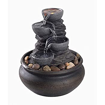 Peaktop PT-TF0001 Outdoor Feng Shui Water Décor Relaxation Desktop Indoor Tabletop Zen Waterfall Fountain with Led Lights and Pump for Bedroom Living Room Office 6 inch Height Stone Gray 5.9