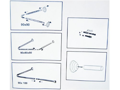Ekershop Universal Winkelstange, DUSCHVORHANGSTANGE, Duschvorhang/Winkel, U & L - Form Stange Farbe Weiss inkl. Ringe