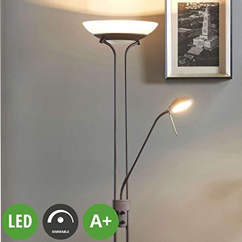 Lampenwelt LED Stehlampe 'Yveta' dimmbar (Landhaus, Vintage, Rustikal) in Braun aus Glas u.a. für Wohnzimmer & Esszimmer (1 flammig, A+, inkl. Leuchtmittel) - Wohnzimmerlampe, Stehleuchte, Floor Lamp