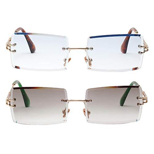 Amuzocity 2X Gafas de Sol Sin Montura de Corte Rectangular Gafas Polarizadas