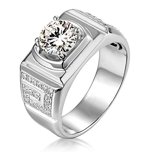 ButiRest Partner Wedding Rings 14 Carat / 18 K White Gold with 4 Bar Claw Setting White Moissanite Round Cut Colour Silver silver
