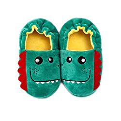 1. Csfry Toddler Cartoon Dinosaur Plush Slippers