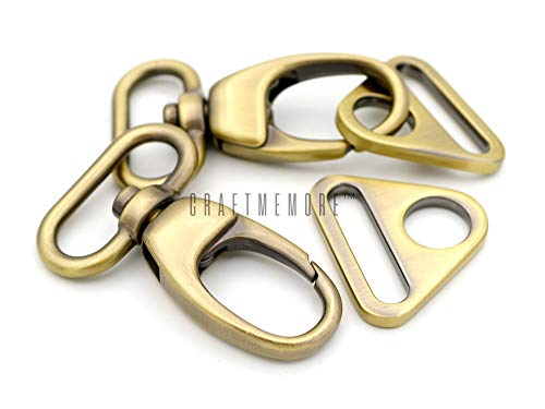 CRAFTMEmore 2 Sets Fat Swivel Push Gate Snap Hooks Lobster Claw Clasp with Triangle Rings (1 1/2 Inches, Antique Brass (Bronze))