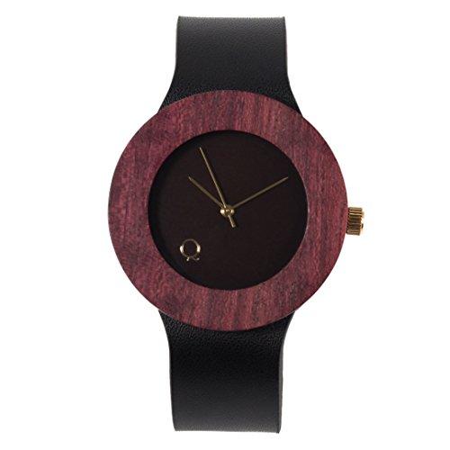 seQoya - Purple Heart  Reloj de Madera con Esfera de Madera y Correa de Piel ecológica simulando Madera Estampada   Reloj Hombre y Mujer   Diseño único y Original