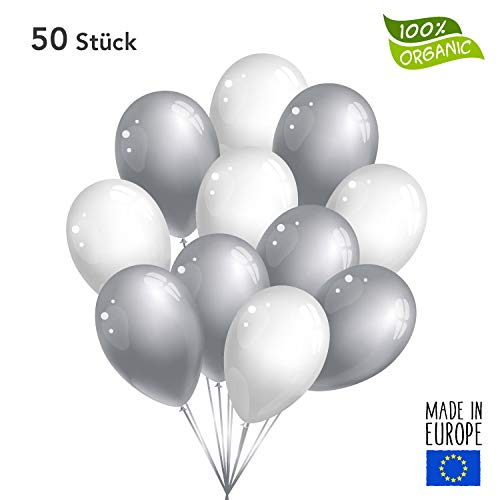 50 Premium Luftballons in Silber/Weiß - Made in EU - 100% Naturlatex - 100% Organic - 100% biologisch abbaubar - Geburtstag Party Hochzeit Silvester Karneval - für Helium geeignet - twist4®