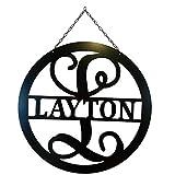 Split Letter L Monogram Metal ACM Sign Personalized Last Name L Door Hanger Initial L Wreath 24 in