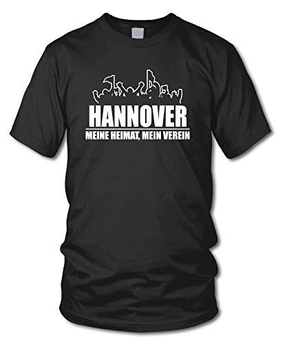 shirtloge - Hannover - Fanblock - Meine Heimat, Mein Verein - Fussball Fan T-Shirt - Schwarz - Größe XXL