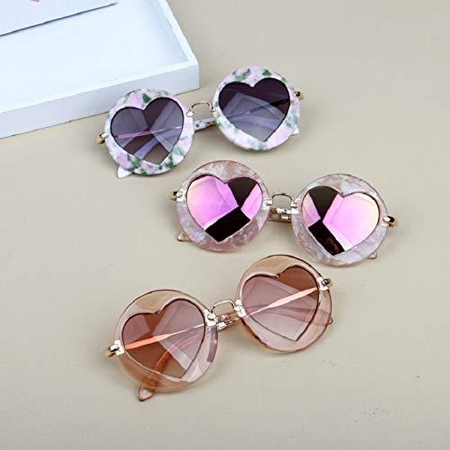weichuang Gafas de sol con montura redonda para niños, estilo vintage, UV400 para niñas (color del marco: como en la imagen, color de las lentes: 04)