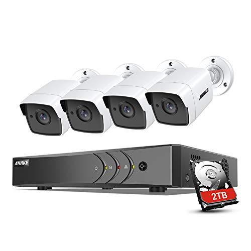 ANNKE 8CH 5MP Kit Videosorveglianza TVI DVR Lite, 8CH 5MP DVR Lite con 4X5MP Ultra HD Telecamera Esterno Impermeabile, Sistema di Sorveglianza con HDD da 2TB, Registrazione 24 7