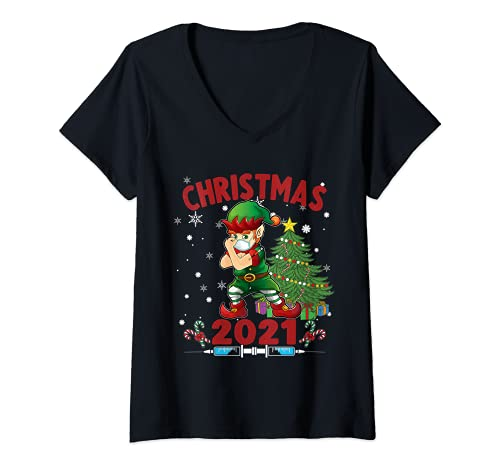 Mujer Elfo Vacinado - Navidad 2021 Camiseta Cuello V