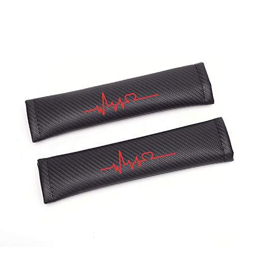 Almohadillas para Cinturón de Seguridad de Fibra de Carbono para Santa FE i80 Accent Tucson IX25 con Electrocardiograma Rojo Pegatinas (2 Unidades)
