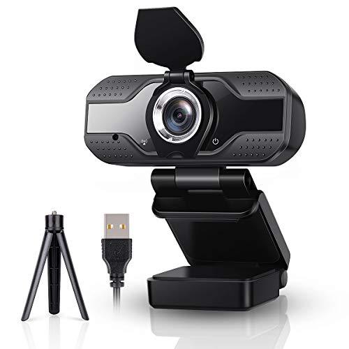 Webcam 1080P con microfono e treppiede, HD Web Camera per PC con copertura privacy, per PC desktop e laptop, USB Plug & Play per YouTube, Live streaming, lezioni online