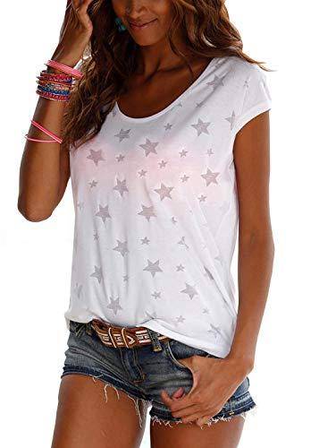 Lantch Damen T-Shirt Top Sommer Basic Kurzarm Shirts Baumwoll Tee Freizeit Oberteile, XL, Weiß