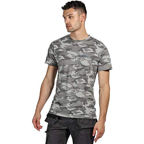 Regatta Herren Arbeitsshirt, Tactical Threads, mit Camouflage-Druck, Dense – T-Shirts/Polos/Vest – Herren M Rock Grey Marl