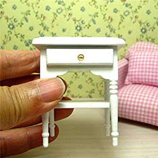 EatingBiting(R) 1:12 Dollhouse Miniature Furniture Bedroom White Wood Bedside Table Nightstand Modern Wooden Bedroom Nightstand Cabinet Dollhouse Accessories with Removable Drawer